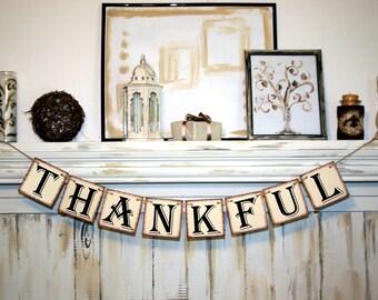 THANKFUL Thanksgiving banner Happy Fall decoration