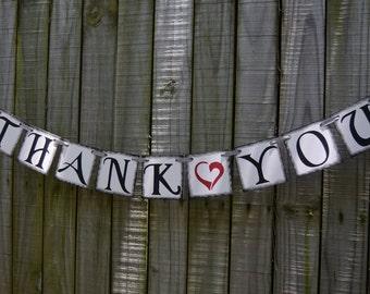 Wedding Banner - THANK YOU Banner Wedding Sign - Wedding Decoration - Photo Prop