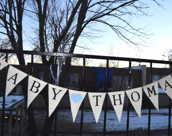 Baby Shower Burlap Bunting,Custom Name Banner, Personalized Banner Welcome baby, Birthday Banner, Custom Name Banner Baby Announcement