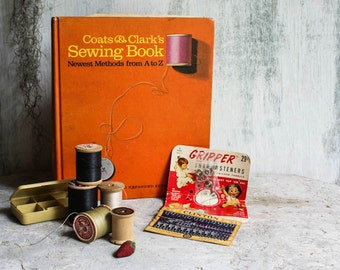 Vintage Gift Set  Coats & Clark's Sewing Book 1967 with Wooden Spool Threads and snaps Perfect Gift for the Seamstress and Homemaker