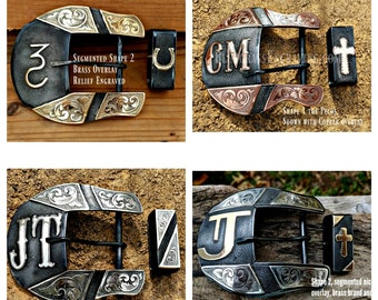 Mens Belt Buckle, Custom, Western Belt Buckle, Ranger Buckle, Personalized, Engraved, Segmented, Cattle Brand, Silversmith , Made to Order,