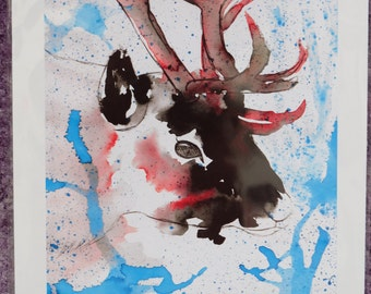 Inky Reindeer Print
