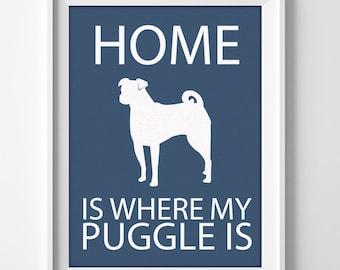 Puggle pug beagle custom name wall Art print for home decor