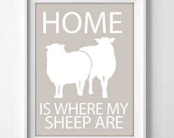 Sheep wall art print for rustic farmhouse home decor