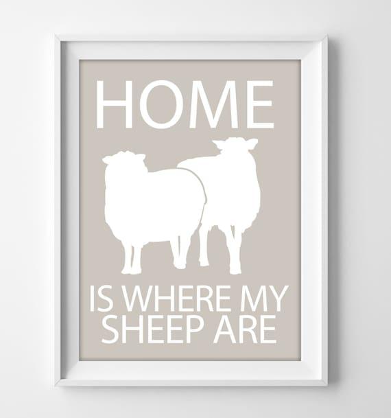 Sheep wall art print for rustic farmhouse home decor   Etsy