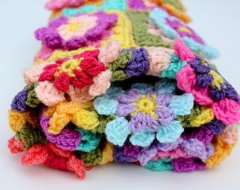Crochet flower blanket, baby girl blanket, car seat blanket, travel blanket, lap blanket, pram blanket, granny square blanket, MADE TO ORDER