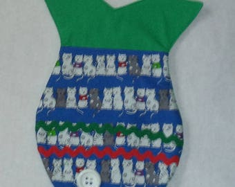 Cat fish shaped  Christmas stocking in green with a cat print pocket