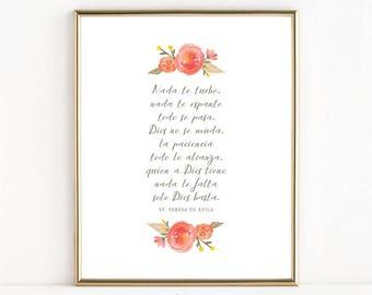 Spanish Version | St. Teresa of Ávila Prayer | Catholic Art | 8x10 Print