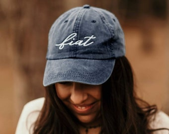 0453990a4b18fe Fiat Script Embroidered Baseball Cap | Blessed Mother | Catholic Gift