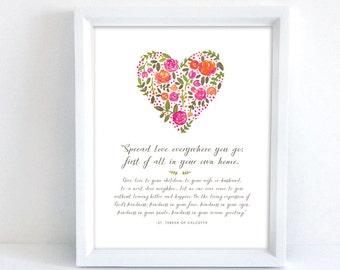 Spread Love Everywhere You Go | St. Teresa of Calcutta | Catholic Art | 8x10 Print