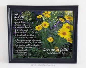 Love is Patient, Love is Kind | 1 Corinthians 13: 4|8 | Christian Wedding Art | 8x10 Print