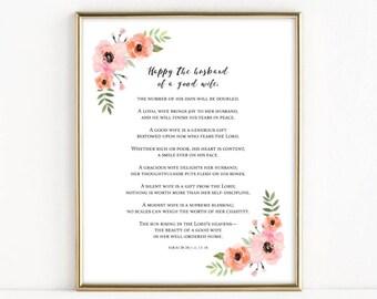 Happy the Husband of a Good Wife | Sirach 26:1|4, 13|16 | Catholic Christian Wedding Print | 8x10 Print