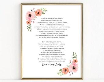 Love Never Fails | Corinthians Reading | Christian Wedding Gift | 8x10 Print