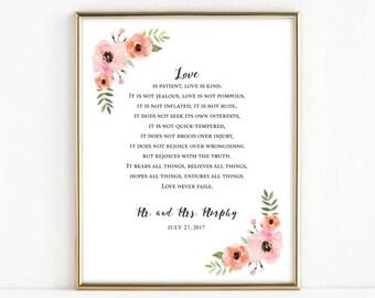 Customized Wedding Print | Love is Patient, Love is Kind | 1 Corinthians 13: 4|8 | Christian Wedding Gift | 8x10 Print