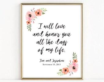 I Will Love and Honor You | Catholic Christian Wedding Art | 8x10 Print