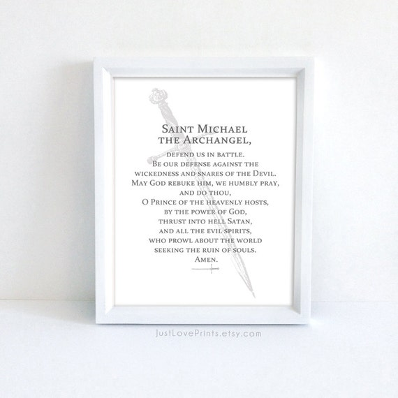 photograph relating to St. Michael the Archangel Prayer Printable identified as Prayer towards St. Michael the Archangel 8x10 Catholic Print