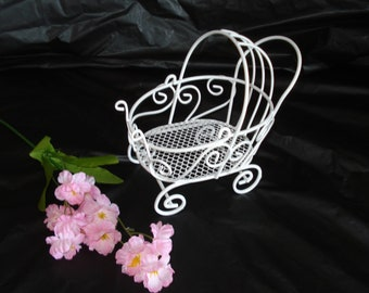 Mini Wire Baby Carriage - Great for Baby Shower Decorations -Perfect Cake Topper or Great for Candy Favors *READ AD for Detail / Dimension