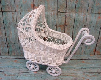 Baby Carriage Buggy  (White) - Great for Baby Shower Decorations or Table Centerpiece - ** PLEASE READ AD for Dimensions and Details