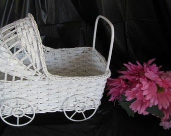 """Vintage Wicker Baby Buggy (10"""" long) - Great for Baby Shower Decorations"""
