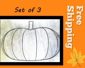 """Set of 3 Pumpkin Shape Wire Wreath Forms  - Great for Craft Projects (14"""" wide) -**Read Ad for Details ** / 3-D Pumpkin Shaped Wire Form"""