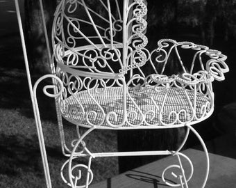 Set of 2 Antique Wire Carriages - Perfect for Baby Shower Decorations