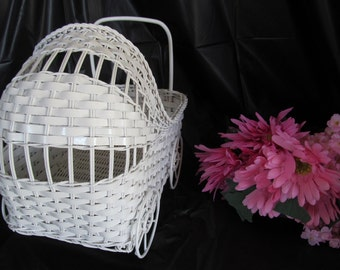 Vintage Wicker Baby Carriage - Great for Baby Shower Decorations