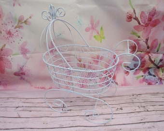 Wire Baby Carriage Pram - Great for Baby Shower Decorations or Table Centerpiece **PLEASE READ AD for Details and Dimensions