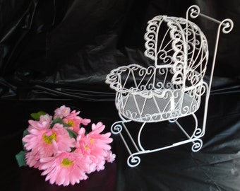 Wire Baby Carriage  - Perfect for Baby Shower Decorations - PLEASE READ AD for complete dimensions and details