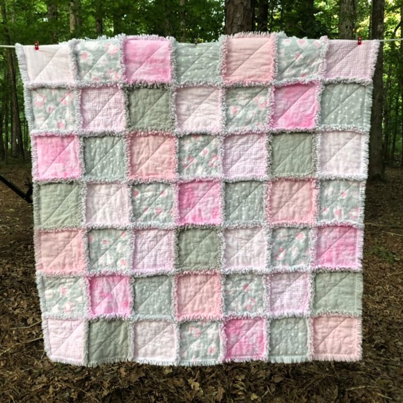 Pink & Gray Elephant Rag Quilt | BabyShower Gift | SuperSoft Flannel Quilt  | Baby Quilt | Rag Quilt | Handmade Quilt | Free Shipping