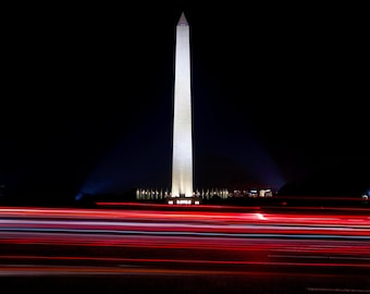 Washington DC Photography, The Washington Monument, National Mall, Long Exposure Picture, American Flags, Limited Edition Print