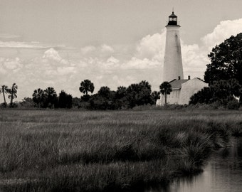 St Marks Lighthouse, Black & White Photo, Nautical, Florida Panhandle Picture, Black and White Photography, Limited Edition Photo Print