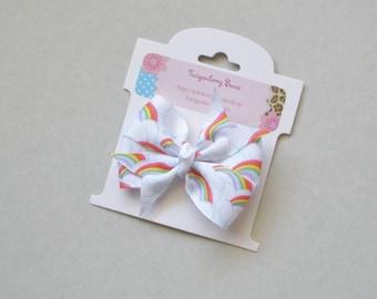 "Medium 2 1/2"" Pinwheel Bow - Rainbows"