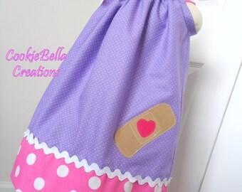 Doc McStuffins Inspired Purple Polka Dot Pillowcase Dress