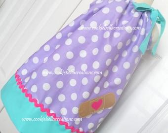 Doc McStuffins Inspired Purple/Aqua Polka Dot Pillowcase  Dress