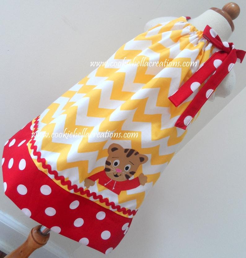 Tiger Boy Yellow & Red Chevron and Polka Dot Pillowcase Dress image 0