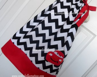 Lightning McQueen Cars  Red & Black Chevron Pillowcase Dress