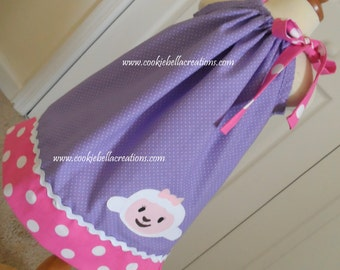 Lambie from Doc McStuffins Inspired Purple & Pink Polka Dot Pillowcase  Dress