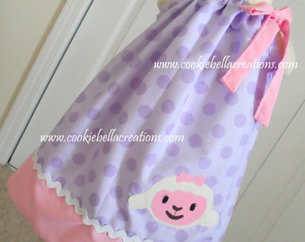 Lambie from Doc McStuffins Inspired Lavender & Pink Polka Dot Pillowcase  Dress 6m-4T