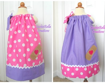 Big Little Sister Dresses, Sibling Outfits, Twin Set - Two Doc McStuffins Inspired Pink/Purple Polka Dot Pillowcase Dresses