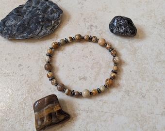 "Mojo's Beads ""Picture Perfect v2"" Jasper Stone / Hematite Bracelet"