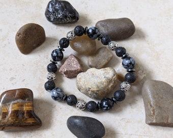 "Mojo's Beads ""Snowflake Bali"" Jasper Stone / Hematite / Lava Rock Essential Oil Bracelet"