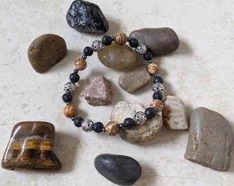 "Mojo's Beads ""Picture Bali"" Jasper Stone / Hematite Essential Oil Bracelet"