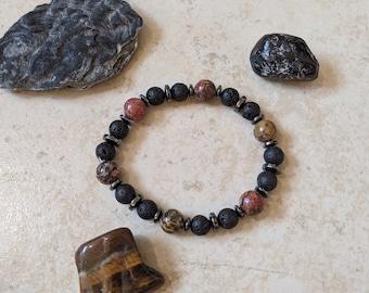 "Mojo's Beads ""Leopard Skin v2"" Jasper Stone / Hematite / Lava Rock Essential Oil Bracelet"