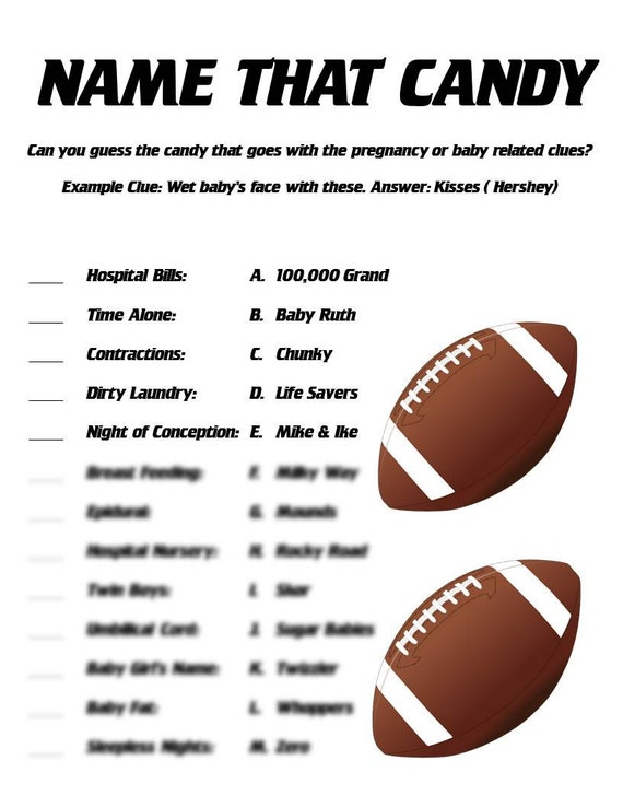 Name That Candy Baby Shower Game Football Themed Shower Etsy