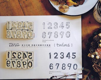 Chamil Garden Numbers Rubber Stamp Set - Day and Night 0-9