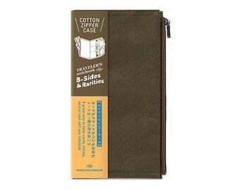 Traveler's Notebook Refill - Regular Size - B-Sides and Rarities Cotton Zipper Case Olive