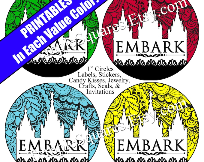 "Printable Digital Files. Lace EMBARK Value Colors 1"" circles LDS Mutual YW Young Women 2015 Theme Embark in the Service of God"