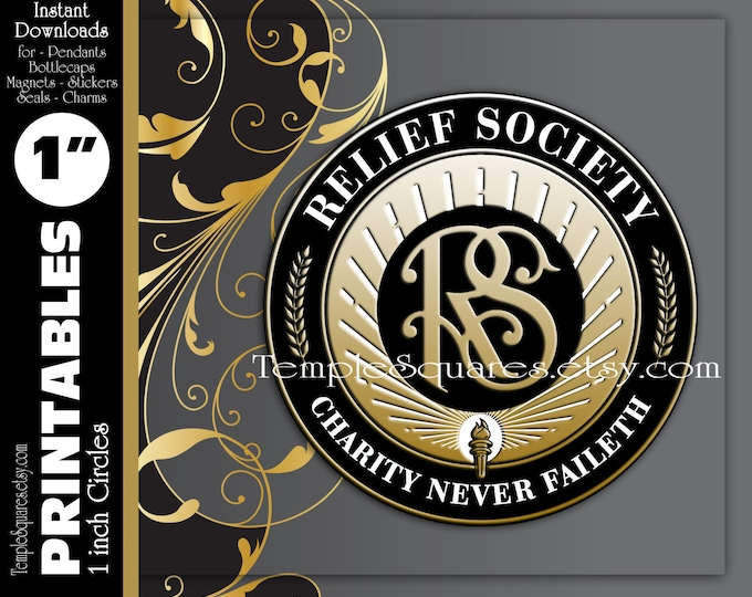 "PRINTABLES - 1"" Circles Relief Society Emblem Symbol in classic black and gold for pendants, necklaces, bottlecaps, Super Saturday, gifts"