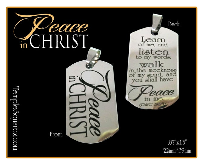 Pack of 5 Peace In Christ YW Young Women Jewelry Pendant Necklace Charms Thick stainless steel dog tag shape Birthday or missionary gift