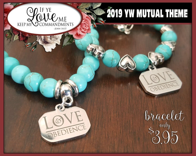 WHOLESALE Charm Bracelet YW 2019 Love & Obedience Young Women LDS Mutual Theme Jewelry TurquoisE New Beginnings Christmas Birthday gift